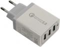 Аксессуар ORIENT QC-12V3W, Сетевое зарядное устройство с функцией быстрой зарядки, поддержка Quick Charge 3.0, 3 x USB - Аксессуар ORIENT QC-12V3W, Сетевое зарядное устройство с функцией быстрой зарядки, поддержка Quick Charge 3.0, 3 x USB: QC выход - 5В, 3.0A или 9В, 1.67А или 12В, 1.25А; 2, 3 выходы - 5В, 2.1А, цвет белый (30650)